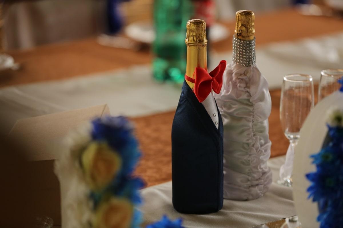 Champagne, zona pranzo, eleganza, fantasia, vetro, partito, vino, matrimonio, bottiglia, in casa