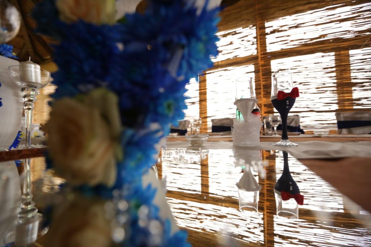 ceremony, decoration, detail, glasses, reflection, restaurant, wedding, blur, light, urban