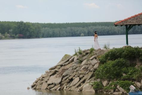 bay, bride, cliff, costline, innocence, think, wedding dress, coastline, landscape, ocean
