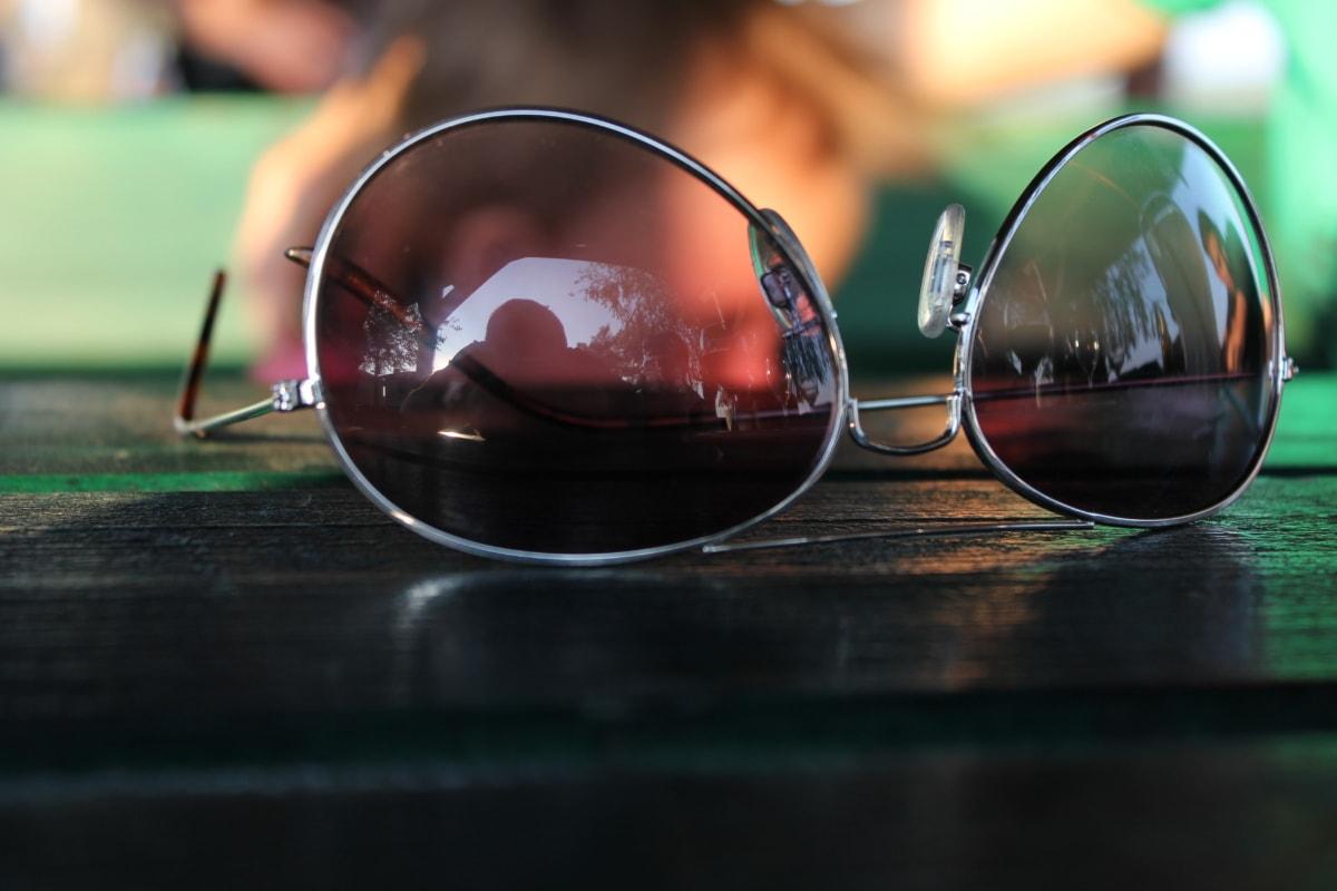 sluneční brýle, chrom, zblízka, kovové, dioptrické brýle, brýle, čočka, sklo, reflexe, rozostření