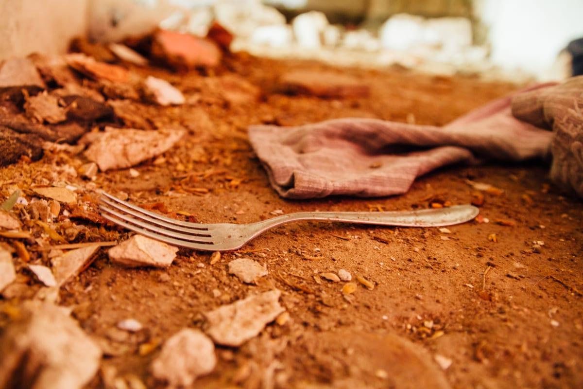 poverty, garbage, waste, trash, fork, wasteland, texture, brown, ground, cutlery