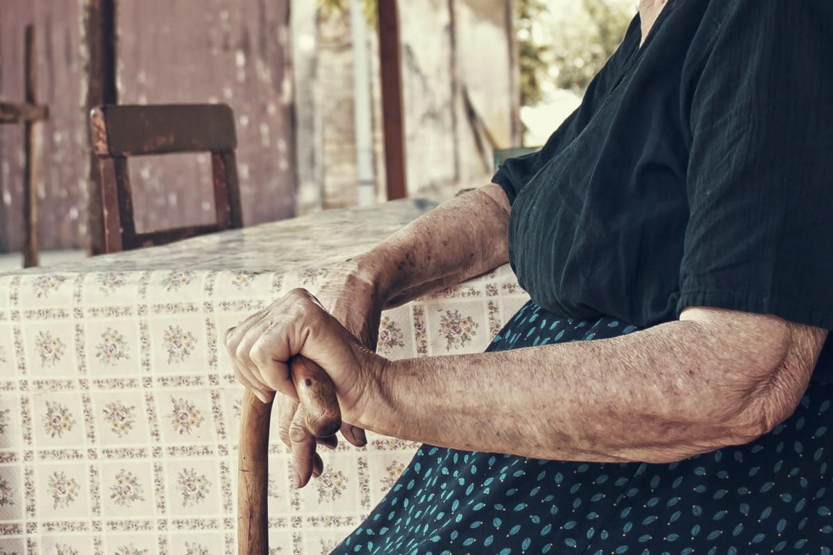 Babička, ruce, Babička, hůl, Žena, Senior, kůže, důchodce, lidé, staré