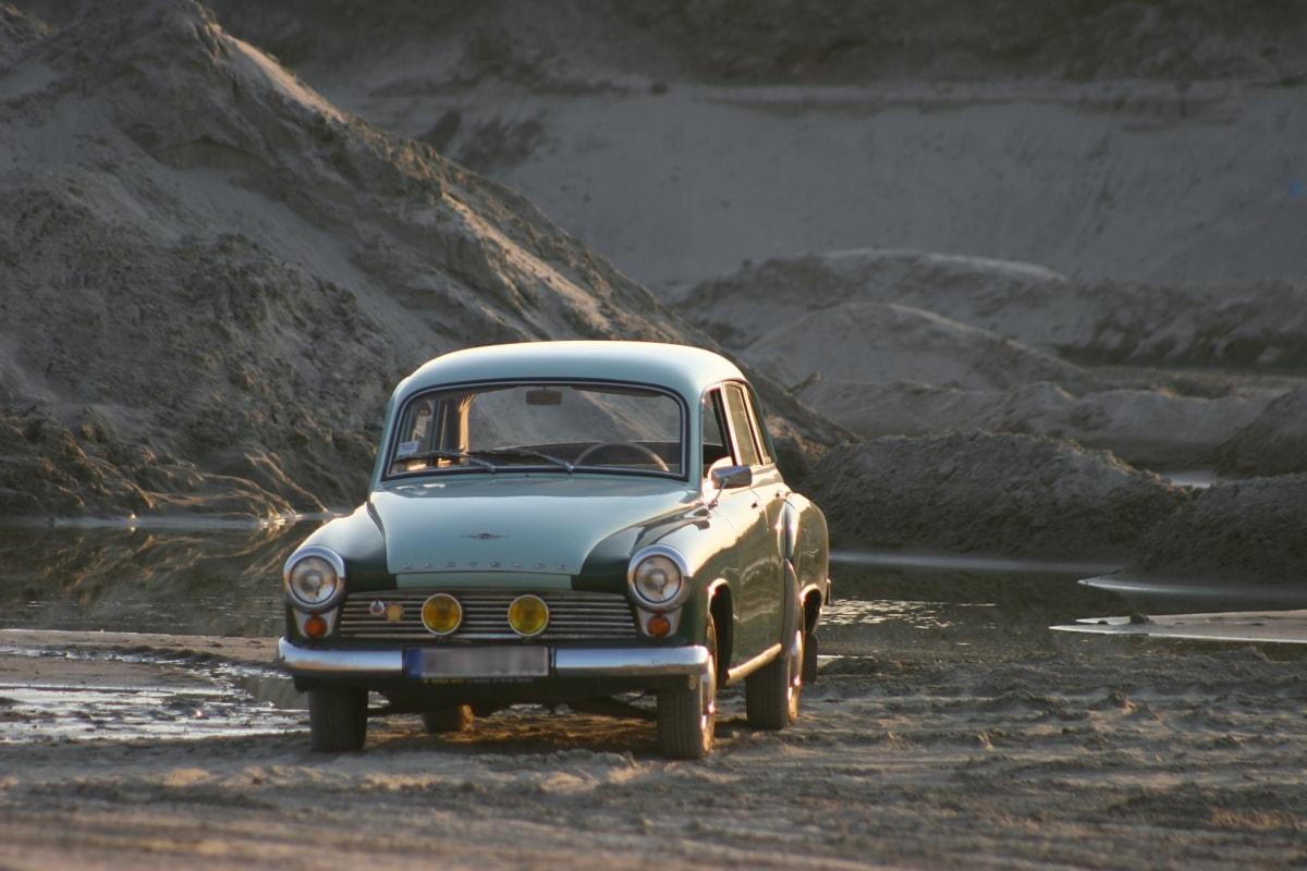 oldtimer, sedan, car, greenish yellow, wasteland, transportation, coupe, road, automobile, drive