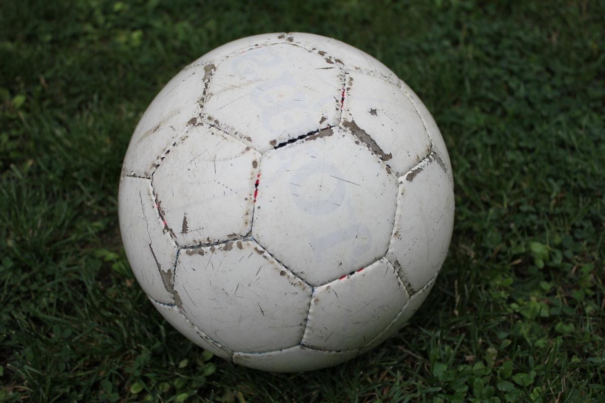 football, ball, lawn, soccer, grass, leather, game, sport, equipment, soccer ball