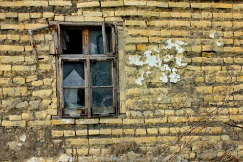 jendela, tukang kayu, meninggalkan, gaya arsitektur, batu bata, kemiskinan, pembusukan, lama, batu bata, dinding