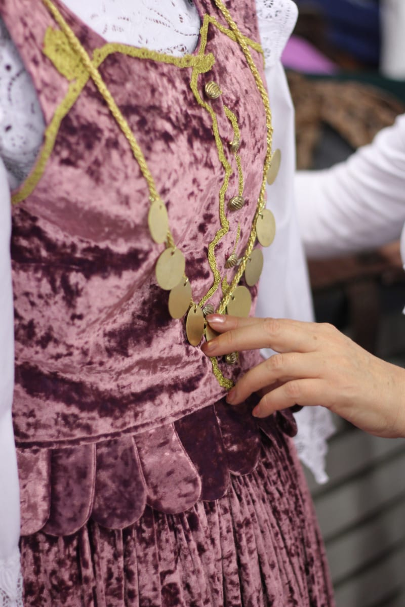 necklace, gold, folk, heritage, tradition, homemade, fashion, skirt, clothing, woman