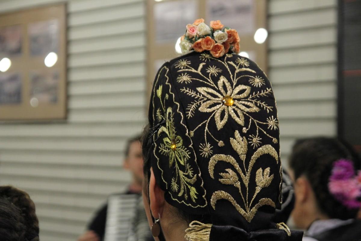 hat, knitwear, handmade, woman, portrait, people, flower, festival, girl, fashion