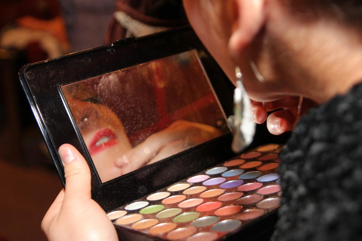 makeup, kosmetik, pulver, spejl, hudpleje, ansigt, mode, farverige, Pige, hånd