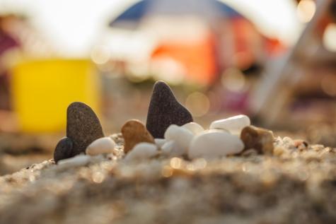 stranden, sand, sommarsäsongen, stenar, solsken, Posas, oskärpa, naturen, semester, Utomhus