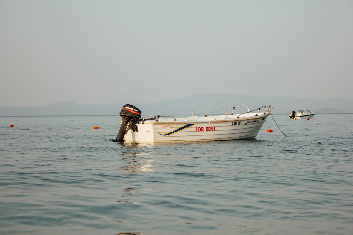 motorboat, engine, boat, calm, ocean, water, device, sea, beach, ship