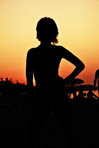 silhouette, shadow, sunset, body, pretty girl, tropical, beach, sun, girl, backlight