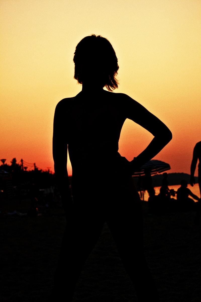 silhouet, schaduw, zonsondergang, lichaam, mooi meisje, tropische, strand, zon, meisje, backlit