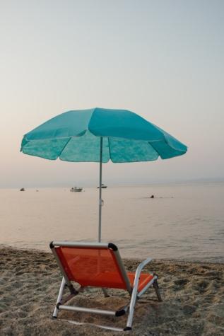 양산, 파라다이스, 자, 여름, 비치, 모래, 바다, 태양, 캐노피, 물
