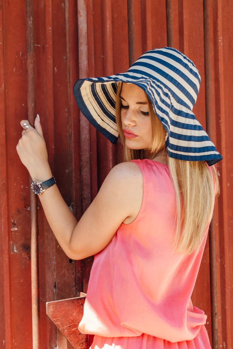 kalap, portré, gyönyörű, felszerelés, fénykép modell, smink, karóra, pózol, test, frizura