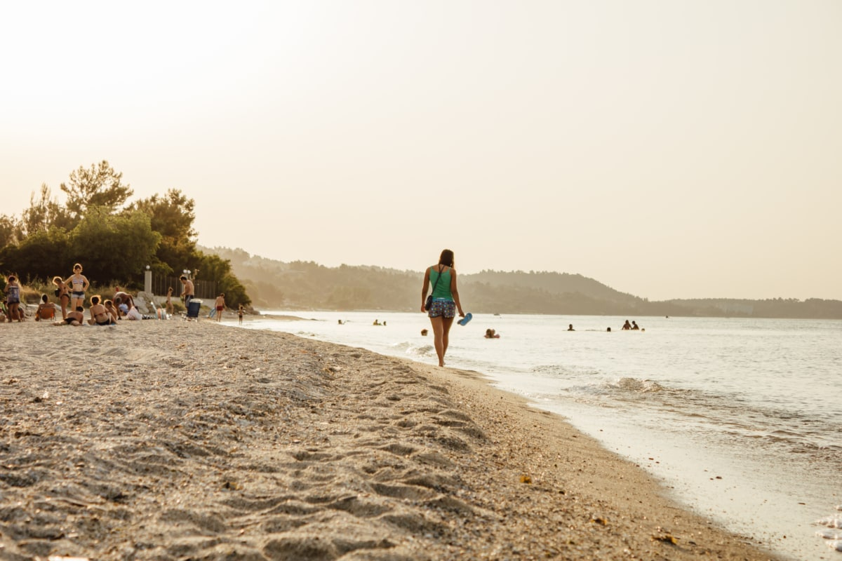 plivanje, hodanje, ljudi, gužva, plaža, pijesak, ljetna sezona, odmor, greben, ocean
