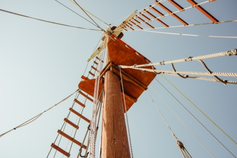 sailboat, pirate, rope, blue sky, leather, boat, mast, sail, voltage, ship