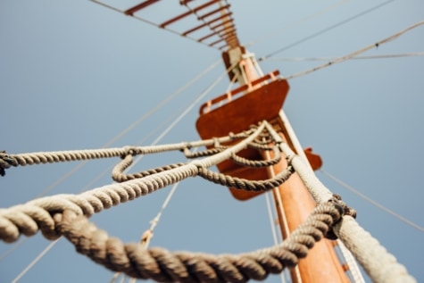sailing, sailboat, rope, close-up, blue sky, boat, wind, sail, ship, watercraft