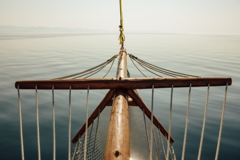calm, sailboat, ocean, sunshine, sailing, boat, pier, rope, water, sea