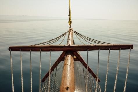 lugn, segelbåt, hav, solsken, segling, båt, pir, rep, vatten, havet
