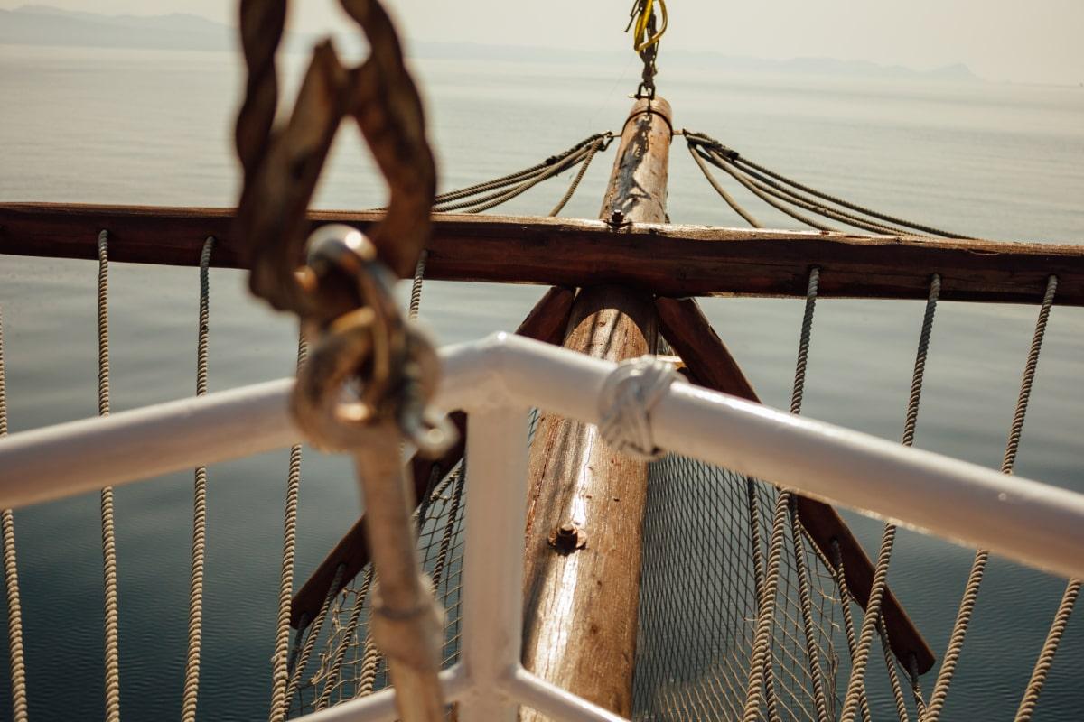 segelbåt, rep, segling, kroken, navigering, utrustning, fartyget, växel, båt, vatten