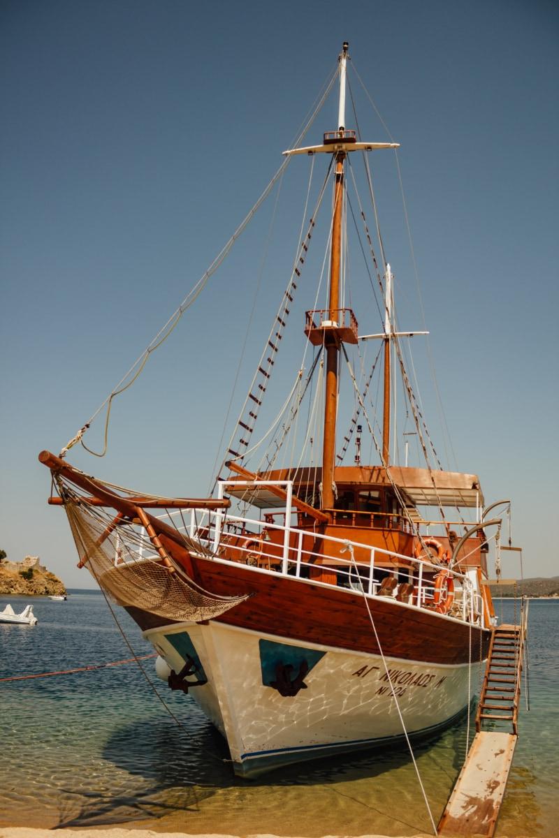 sailboat, island, navigation, summer, exploration, travel, beach, sea, ship, port