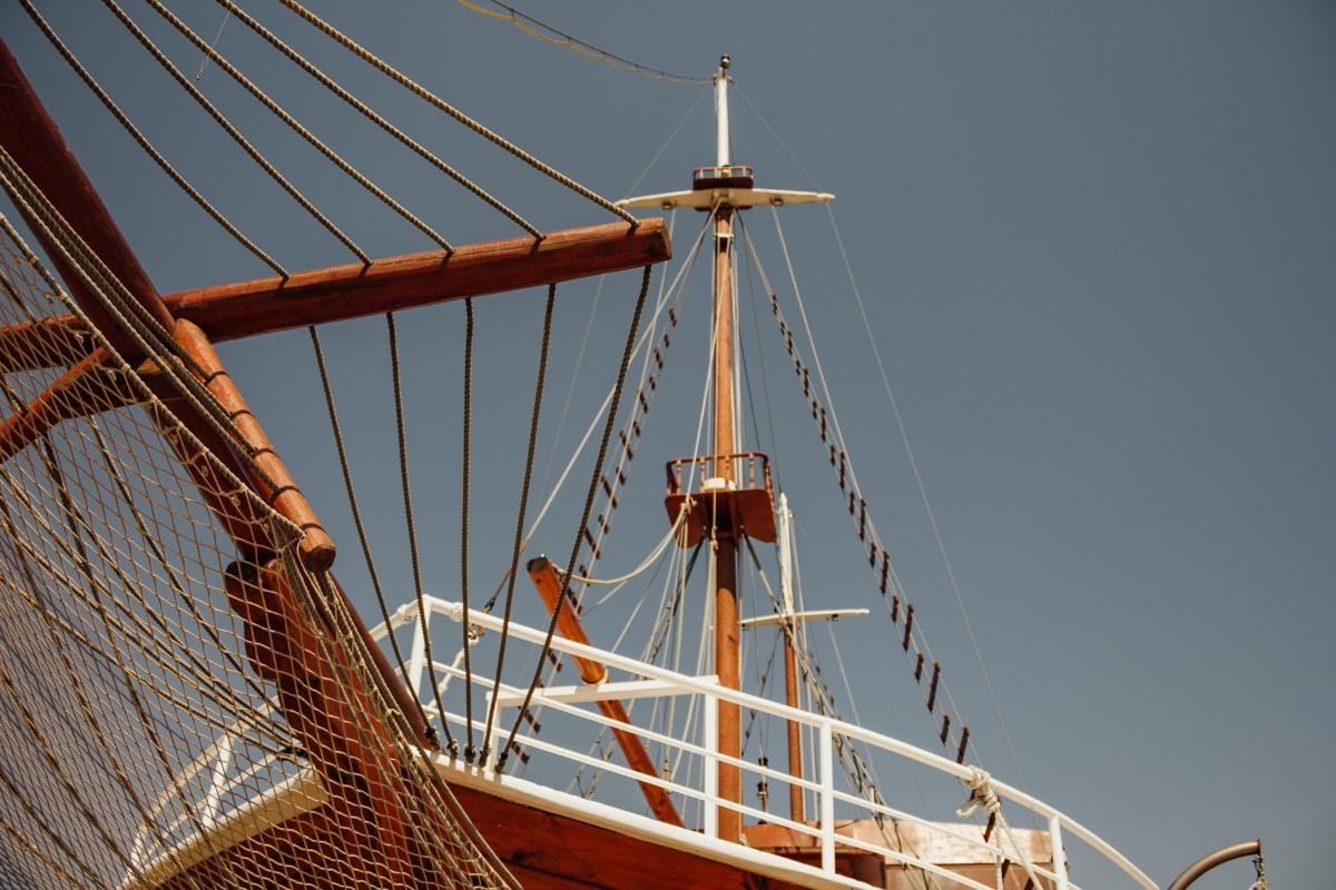 sailboat, ship, shipyard, sailing, pirate, watercraft, rope, boat, sail, mast