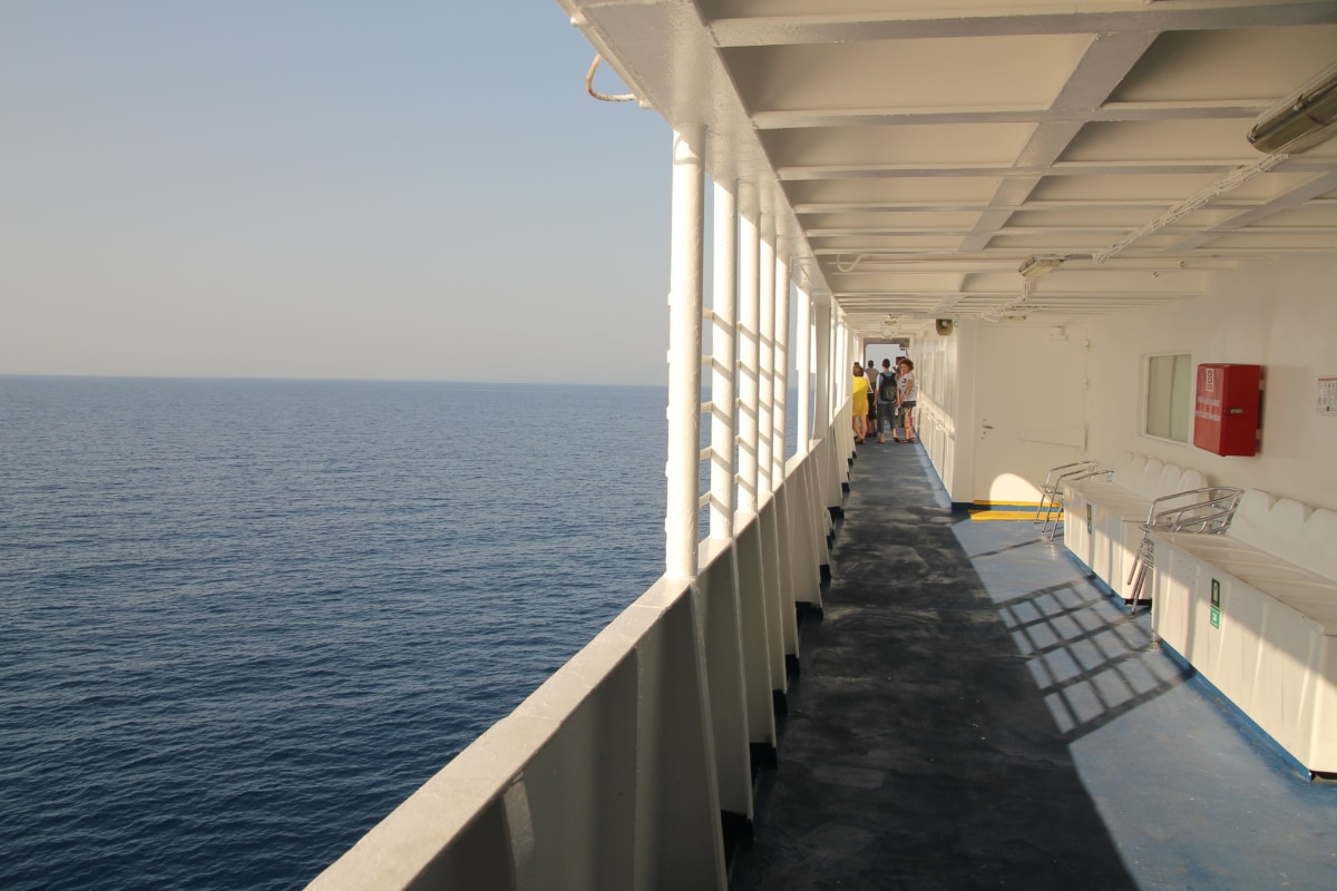 deck, cruise ship, fence, ocean, sea, water, boat, summer, luxury, ferry