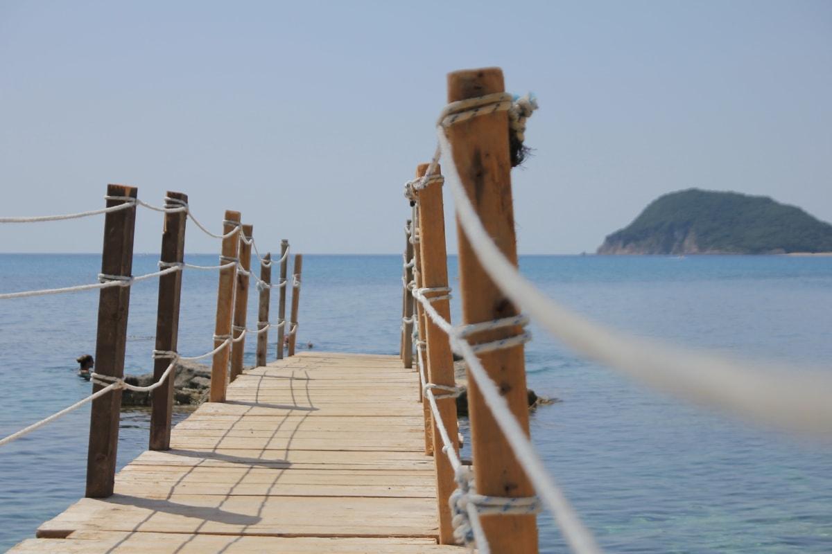 bridge, rope, pier, carpentry, ocean, tropical, island, beach, deck, water