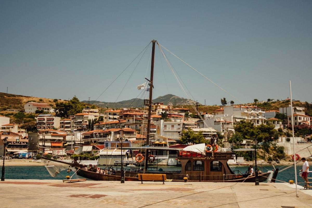 tropical, resort area, sailboat, ship, industry, fishing boat, machine, industrial, port, sea
