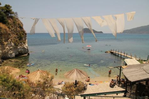 ベイ, ギリシャ, ビーチ, ロマンチックです, 群衆, 楽しさ, レクリエーション, 海, 海, 水