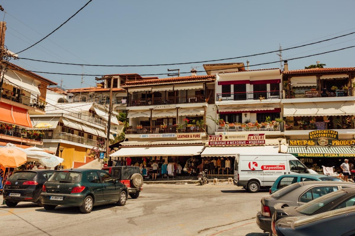street, traffic, cars, urban area, traffic jam, greece, intersection, city, architecture, building
