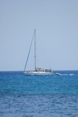 emberek, hajókázás, napsütés, vitorlás hajó, horizont, távolság, kék ég, hajó, tenger, vitorlás