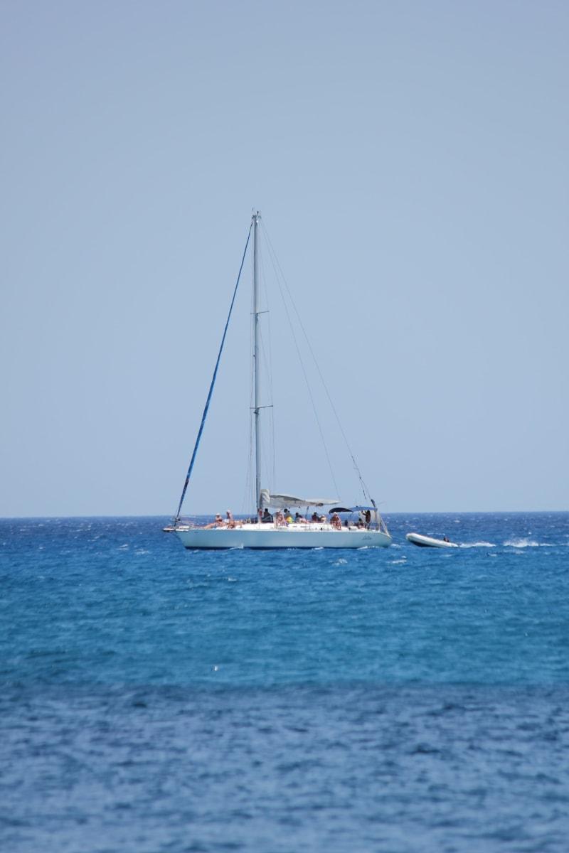 people, cruise, sunshine, sailboat, horizon, distance, blue sky, ship, sea, sailing