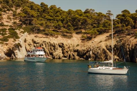 Греція, Скеля, яхти, подорожі, Вітрильник, Риболовецьке судно, рибалка, гавані, води, море