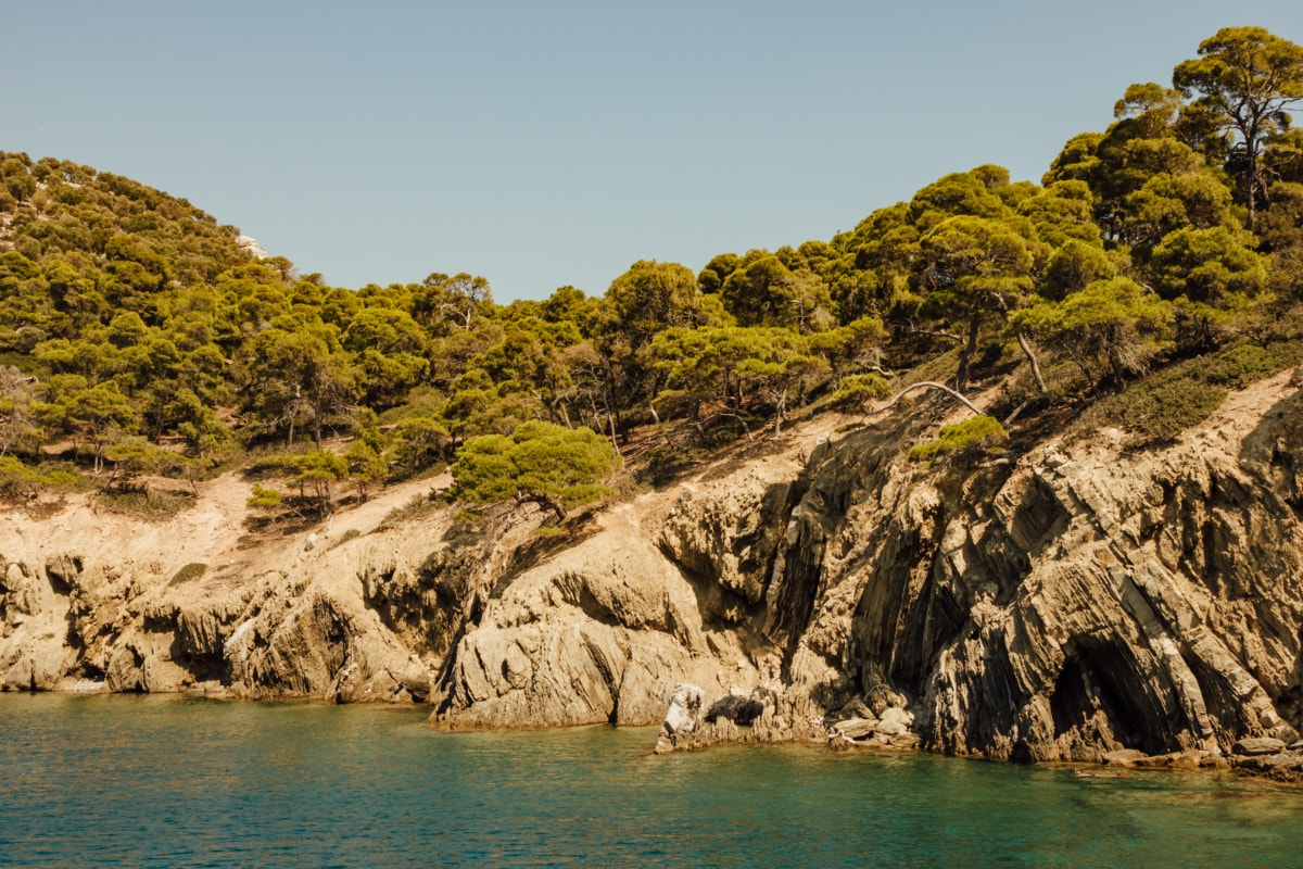 shoreline, cliff, seashore, sea, beach, water, landscape, ocean, coast, nature