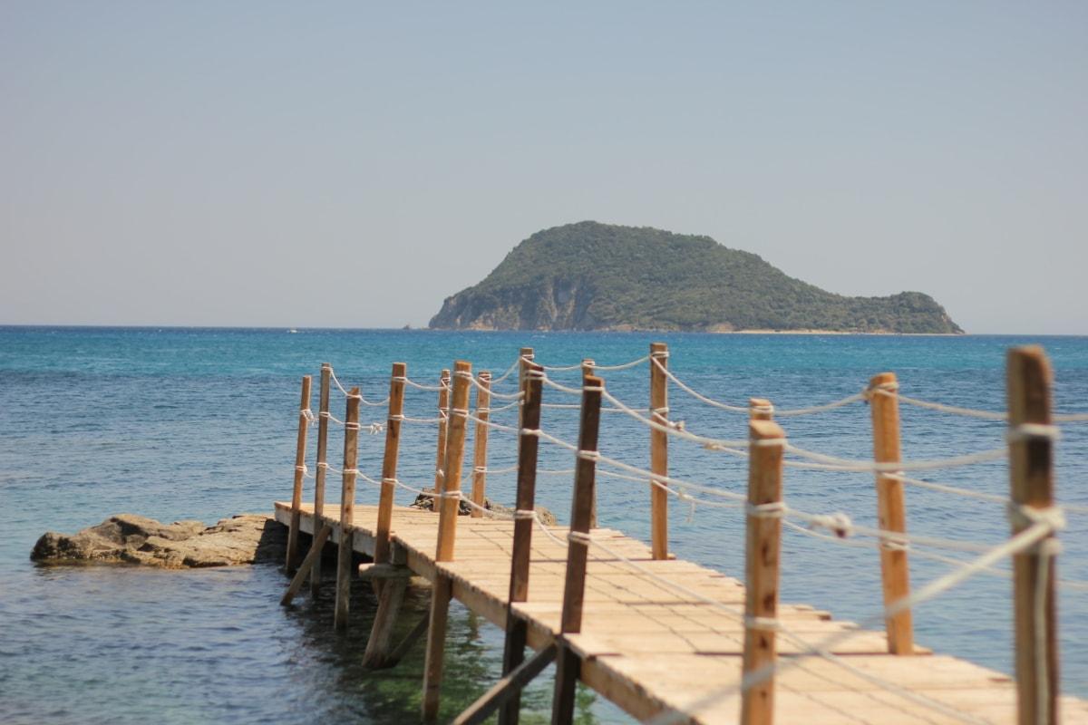 island, bridge, ocean, pier, sea, water, beach, summer, sand, seashore