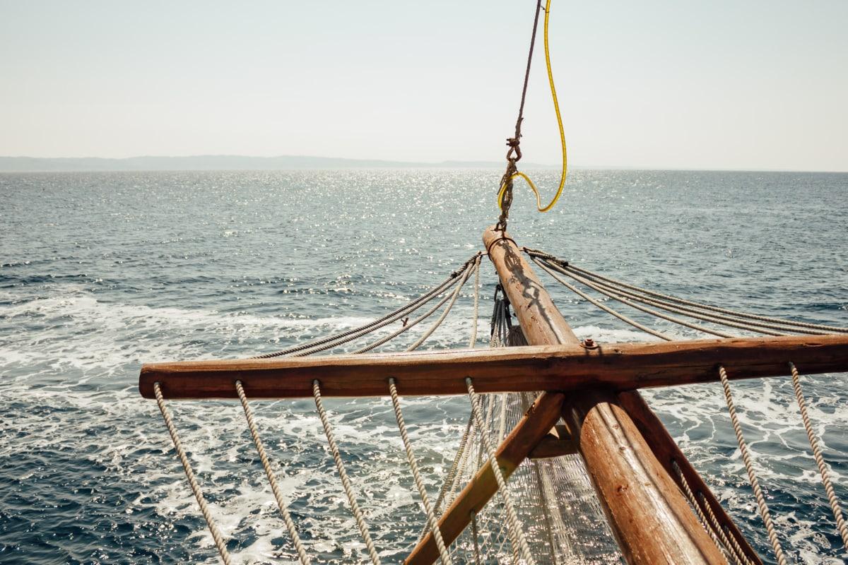 rope, sailboat, sailing, timber, hardwood, carpentry, horizon, ocean, sea, boat