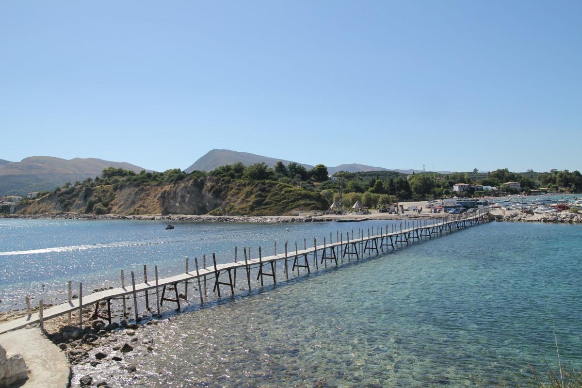 bridge, island, resort area, summer season, coast, sea, water, shoreline, barrier, beach