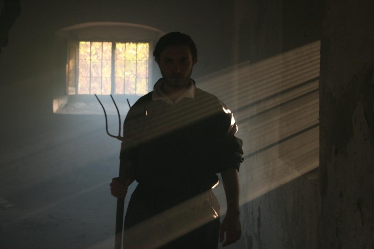 basement, dungeon, man, light, shadow, sunrays, darkness, portrait, window, indoors