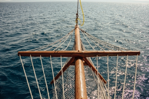sailing, sailboat, horizon, waves, handmade, carpentry, sea, device, pier, rope