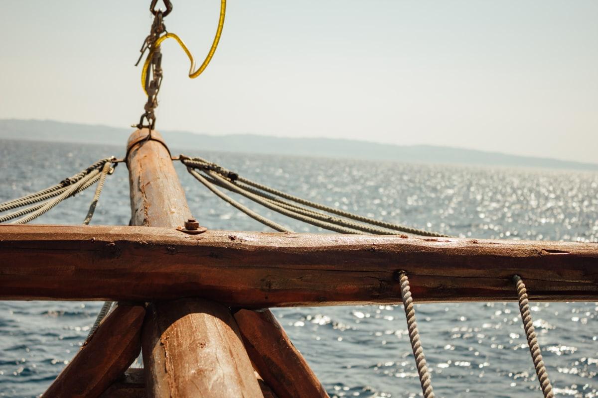 sailboat, sailing, craft, rope, horizon, wood, close-up, boat, sea, water