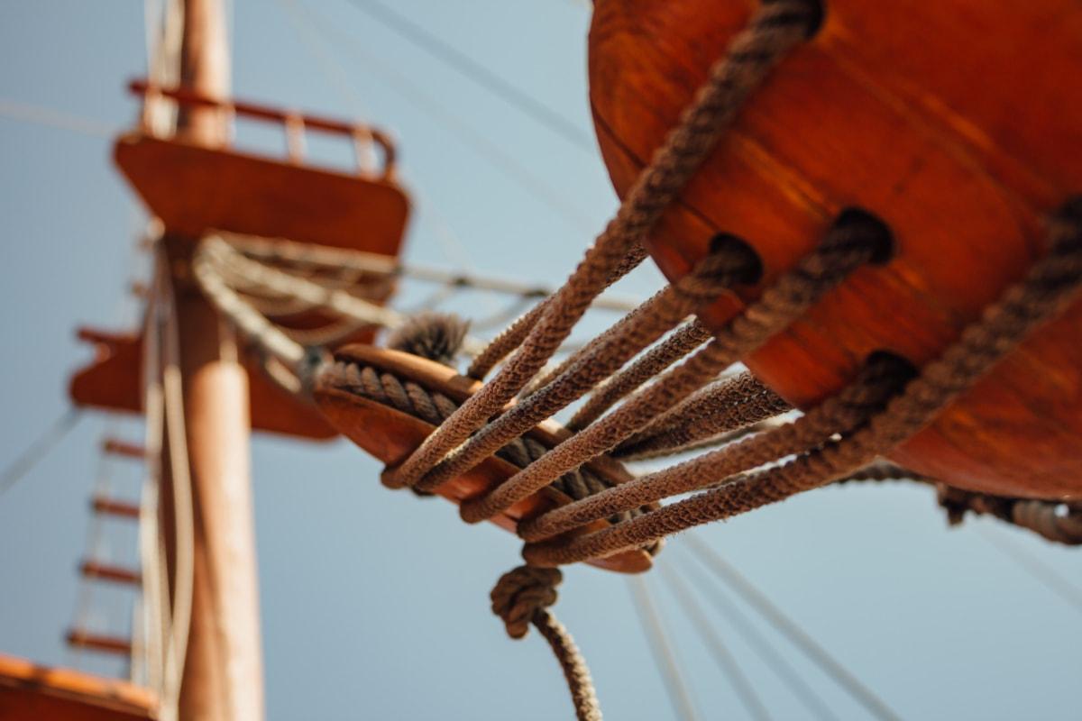 sail, sailboat, navigation, antique, rope, sailing, wood, watercraft, ship, boat