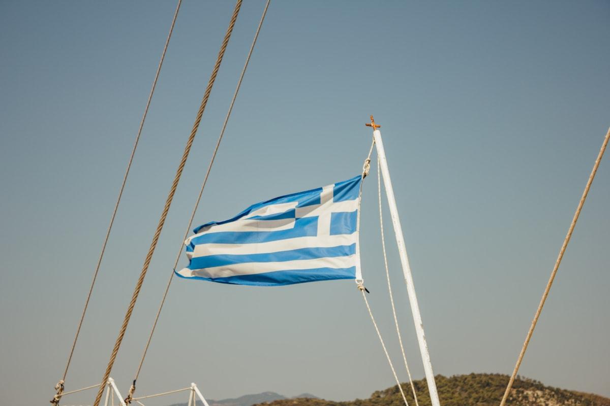 greece, flag, heraldry, sailboat, symbol, wind, emblem, rope, water, boat