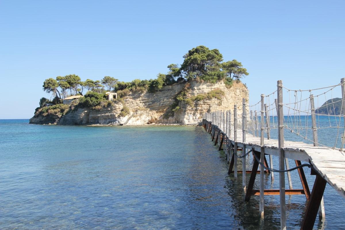 ocean, island, handmade, bridge, water, coast, landscape, sea, shore, bay