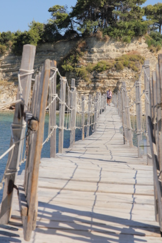 tropical, handmade, suspension bridge, structure, bridge, water, outdoors, sea, summer, wood