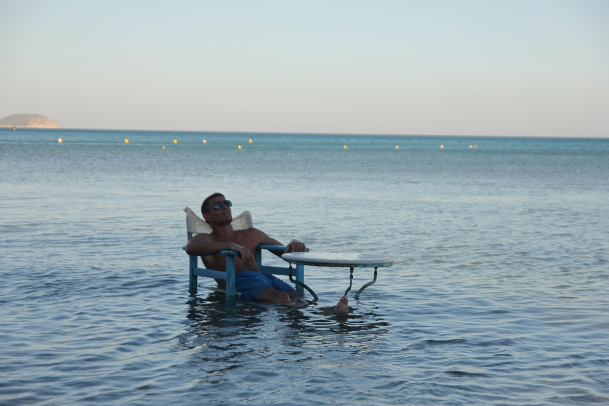 sitting, relaxation, ocean, enjoyment, handsome, tropical, man, water, summer, vacation