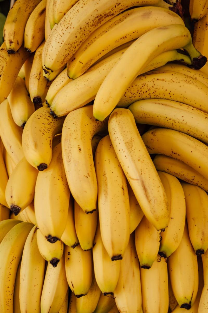 банан, фрукты, органические, крупным планом, желтый, питание, тропический, продукты, природа, здравоохранение