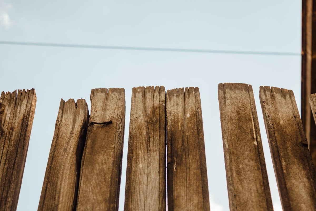 picket fence, handmade, old, wood, light brown, fence, bark, nature, outdoors, retro