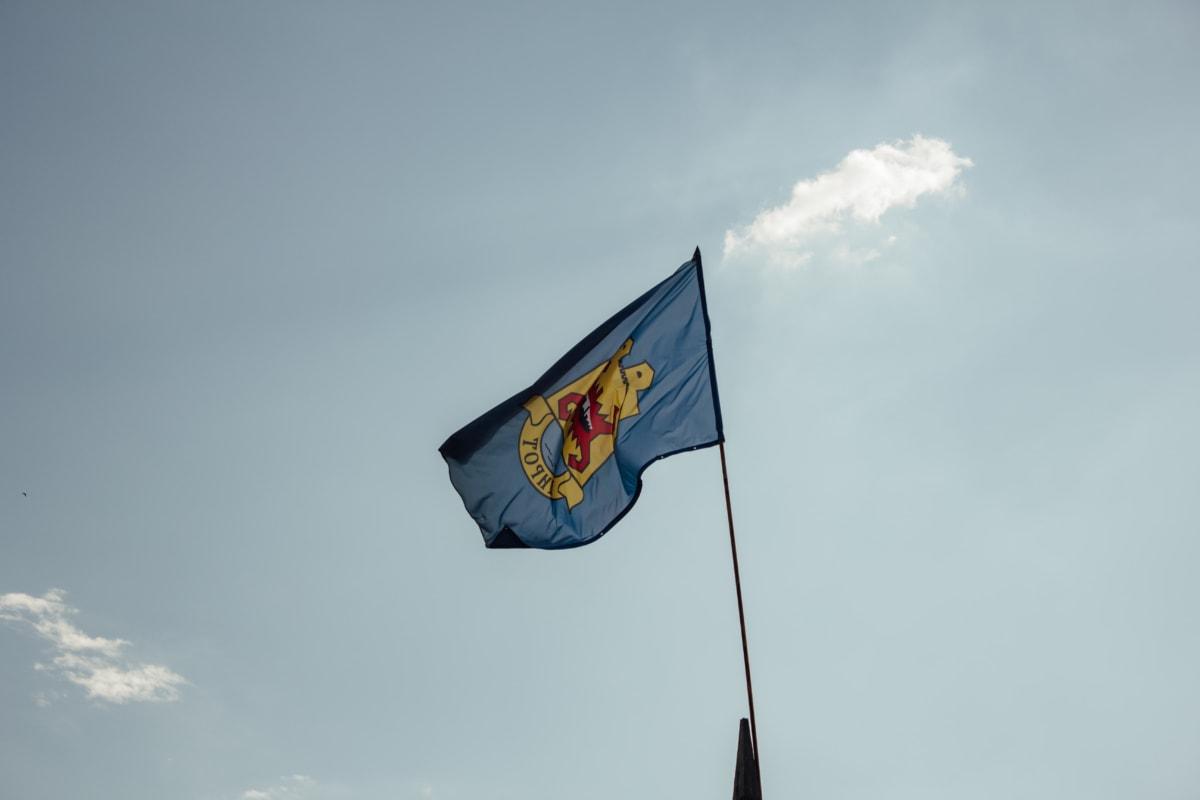 symbol, emblem, flag, heraldry, staff, stick, wind, patriotism, pride, democracy