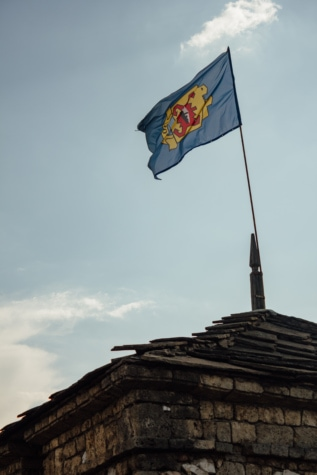 symbol, vlajka, heraldika, středověké, dědictví, hůl, architektura, staré, vítr, vlastenectví